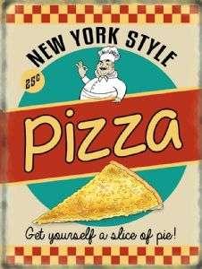 New York Style Pizza large metal sign  400mm x 300mm   (og)